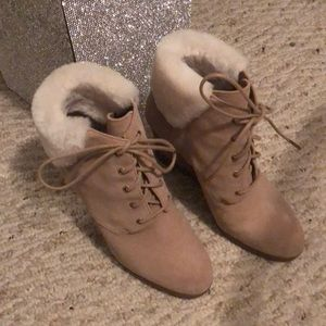 Michael Kors wedge booties with fur cuff